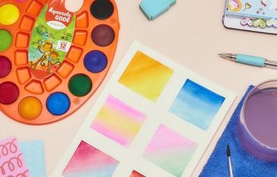 Aquarela em pastilha para uso escolar ou prática de artesanato.